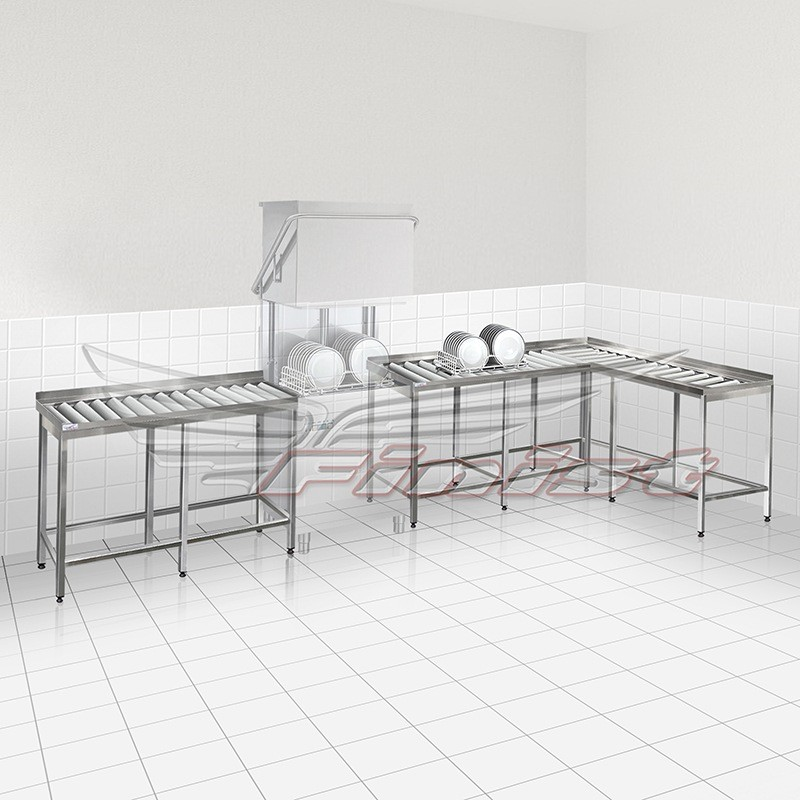 Стол приемный сварной для посудомоечной машины, с цилиндрическими роликами