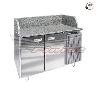 Стол холодильный для пиццы с гранитной столешницей и гранитными бортами