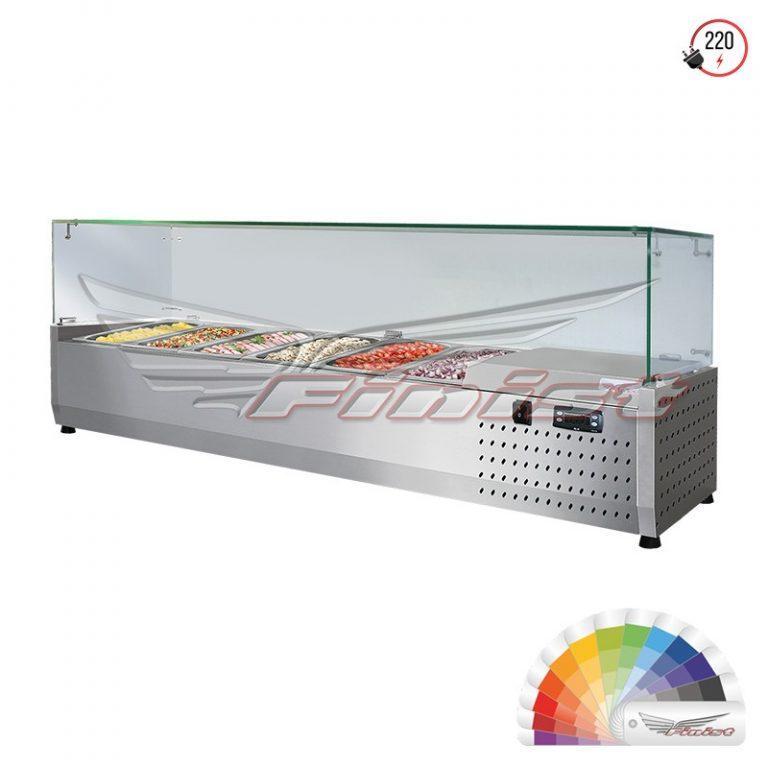 Настольная холодильная витрина «ToppingBox» с прямоугольным стеклом
