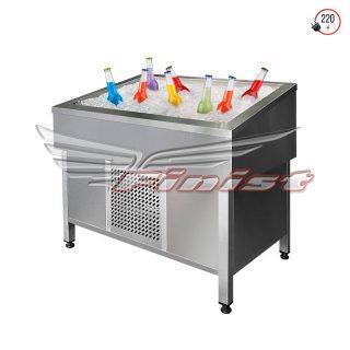 Витрина для выкладки соков и фруктов на льду