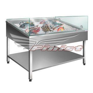 Нейтральная витрина для выкладки рыбы на льду (без охлаждения)